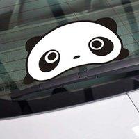 Wholesale Panda Car Accessories - 1pcs Automobile Exterior Accessory Panda Car Stickers 25cm * 12cm Cartoon Panda Car Sticker Funny Panda Auto Supplies