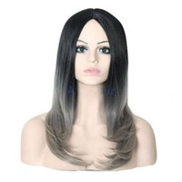 """Wholesale Curly Cheap Tone Wigs - 24"""" Long Curly Wig Cheap Synthetic Ombre two-tone Wigs African American Silver Gray Lolita Wigs for Black Women Heat Resistant"""