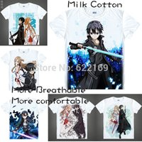 Wholesale Xs Clothing Online - Wholesale- 2015 Sword Art Online Kirito Kazuto Kirigaya T Shirt Anime Japanese Animation Novelty Summer Men's T-shirt Cosplay Clothing