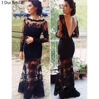 Wholesale Gold Bare - Trumpet Mermaid Lace Scalloped Draped Floor-length Formal Dresses Bare Back Sexy Evening Dresses Long Sleeve New