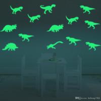 murais de dinossauros de crianças venda por atacado-Adesivo de parede Luminosa 3D Criativo Dinossauro Art Mural Fluorescência Luz Decalque Para O Miúdo Quarto À Prova de Água 7 5gf F R