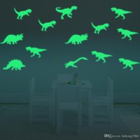 3d wall art light achat en gros de-Sticker mural Luminous 3D Creative Dinosaur Art Mural Fluorescence Light Decal pour salle d'enfant Water Proof 7 5gf F R