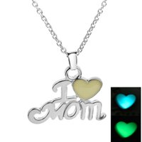 Wholesale Mother Daughter Jewelry Pendants - Wholesale- Daughter & Best Mom Love Heart I love Mom Chic Punk Glow In Dark Pendant Necklace Mothers Day Gifts For Mom Luminous Jewelry