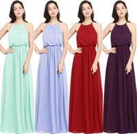 Wholesale Grape Evening Dresses - 2018 New Designer Sheath Chiffon Long Bridesmaid Dresses 9 Colors Burgundy Grape Long Prom Dress Evening Gowns Cheap Under 50 CPS618