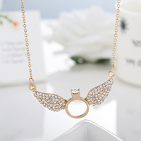 Wholesale Valentines Unique Gifts - Unique Design Gold Silver Valentines Gift Angel Wings with Rings Crystal Pendant Necklace Statement Jewelry for Women