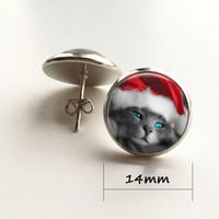 Wholesale Cat Tile - Christmas Stud Earrings Jewelry Beaded Jewelry Cat Holiday Earrings Tile Stud Earrings Santa Cat
