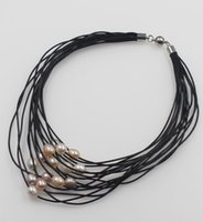multi-strang silber perlenkette großhandel-freie Verschiffen 11-12mm weiße rosafarbene Frischwasserperle auf lederner Multi-Strang Halskette