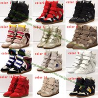 botas para las mujeres cuñas al por mayor-Hebilla de cuña de moda de calidad superior botines altos zapatos casuales mujeres de cuero genuino aumento de la altura de la señora de la plataforma del remiendo del zapato