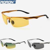 gafas de hombre polarizadas amarillas al por mayor-Venta al por mayor- Gafas de sol polarizadas para hombres Magnesio de aluminio, amarillo, de visión nocturna, gafas de sol, gafas de sol para deportes al aire libre para hombres que conducen