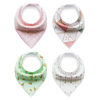 Wholesale Fast shipping styles ins burp baby bibs saliva towel Arrow animal cartoon cloths triangle cotton bandana accessories