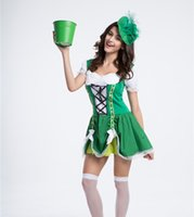 Wholesale Usa Halloween Costumes - Germany usa European beer festival promotion waiter serving maid cafe Luck of the Irish Gal party dress cosplay Halloween