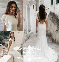 Wholesale Mermaid Greek Chiffon Dress - Sexy Backless Mermaid Beach Wedding Dresses 2017 Plus Size Ruffles Long Cheap Simple Country Arabic Greek Low Back Bridal Gowns Custom Made