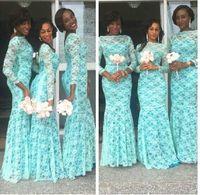 vestidos azuis da dama de honra do laço do aqua venda por atacado-2019 Modest Açafrão Do Laço Nigeriano Africano Sereia Da Dama de Honra Vestidos Com Sheer Mangas Compridas Bateau Neck Plus Size Vestidos de Dama de honra Formal Da Empregada
