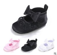 Wholesale Wholesale Baby Silk Fabric - baby soft base toddler shoes 0-1 year shiny baby shoes Newborn bows silk lace falbala princess shoes prewalker baby girls indoor shoe T5079