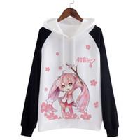 Wholesale Miku Hatsune Hat - Anime Hatsune Miku Hooded Cosplay Costume Fashion Coat Japanese Kawaii Clothes Cute Hoodies Women Sweatshirts