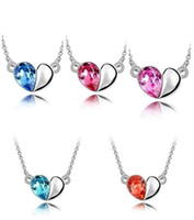 Wholesale Multi Color Snake Necklace - Free shipping Austrian crystal love honey theme decorated multi-color optional necklace WFN093 (with chain) mix order 20 pieces a lot
