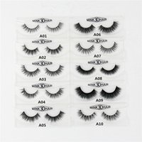 Wholesale Lash Boxes - Wholesale- 3D Mink Eyelashes Natural Extension Long Cross Thick Mink Lashes Handmade Eye Lashes A01-A19 (blank box available)