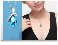 Wholesale Tear Drop Jewelry - Japan and South Korea explosion trend of fashion accessories angel tears drops crystal pendant jewelry necklace chain wholesale