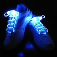 оптоволоконные светодиоды оптовых-(15 пар) LED мигающий шнурки волоконно-оптические шнурки светящиеся шнурки для обуви загораются обувь кружева