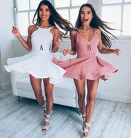 Wholesale Cute Simple Prom Dresses - Cute Short Homecoming Dresses Simple Sexy Prom Dress V-Neck Sleeveless Above Length Party Dress Fast Shipping