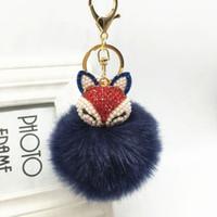 Wholesale Rhinestone Key Keychain - Cute Fox Fur Ball PomPom Keychain Rhinestone Key Chain Ring Bag Car Keyring New Free Shipping