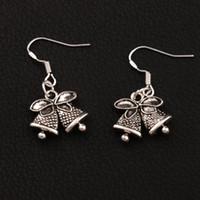 Wholesale Wholesale Bell Charms - Christmas Jingle Bell Dots Bells Charm Earrings 925 Silver Fish Ear Hook 30pairs lot Tibetan Silver Chandelier E793 16.7x31.7mm