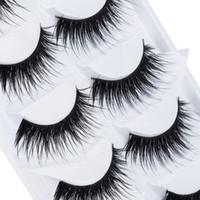 Wholesale Soft Fake Eyelashes Individual - 5 Pairs Lot Black Natural Thick False Eyelash Soft Long Handmade Makeup Fake Eye Lashes Extension