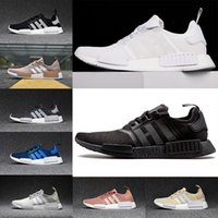 Wholesale Mens Light Blue Canvas Shoes - NMD R1 Runner Primeknit pk Mesh Salmon Talc Cream Olive Triple Black white red Mens Women Running Shoes NMD Ultra Boost sports sneakers