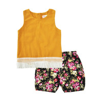 Wholesale Girls Swing Tops - Baby Clothing Set Yellow Tassel Swing Girls Tees Summer Toddler Outfit Sleeve Girls Top Floral Short 2pcs Girls Clothes