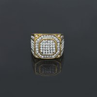 Wholesale Square Punk Rings - Men's Stainless Steel Square Ring Bling Bling Rhinestone Crystal Silver Gold Plated Punk Rings Fashion Hip Hop Jewelry