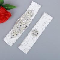 schnürsenkel für hochzeit großhandel-2 Stück Lace Bridal Strumpfbänder Gürtel Set handgefertigten Strass Perlen Vintage White Hochzeit Strumpfbänder auf Lager
