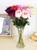 Wholesale Single Rose Decoration - Simulation of a single rose plastic flower, living room, office decoration flower Chinese rose
