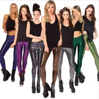 Wholesale Shiny Leggings For Sale - Hot Sale! Novelty Fish Scale Shiny Leggings for Women Mermaid Legging Slim Pencil Pants Plus Size Grils Leggins S-4XL DHL Free 12 colors