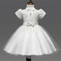 Wholesale Girls Lace High Stockings - New Short Sleeve Wedding Flower Girl 2017 Lace Kids Formal Wear High Neck Gowns Zipper Back With Bow 48 Hours Shipping In Stock