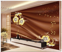 Wholesale gem heating - 3D photo wallpaper custom 3d wall murals Gem flower silk TV setting wall 3d living room wall decor