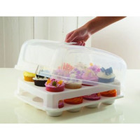 Wholesale Cupcake Carriers - Cupcake Carrier - 2 Layer Cake Courier Caddy Pastry Treats Portable Storage Plastic Container Carrying 24 Slot Case - Large