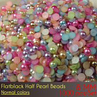 abs Flat Back Half Pearl Beads 8 mm Color normal 1000 unids / set artes del clavo diy pequeño medio redondo perla copia
