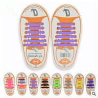 Wholesale Elastic Silicone Hair Ties - 13 Colors Unisex Easy No Tie Shoelaces Kids Silicone Elastic Shoe Laces Kids Running Shoelaces Fit All Sneakers 12pcs set CCA5897 100set