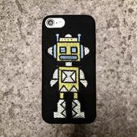 ingrosso yellow iphone covers-2017 nuova creatività manuale ricamo robot flanella morbida copertura della cassa posteriore della pelle per iphone (giallo)