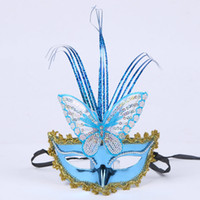 Wholesale Princess Paint - Halloween party party mask painted princess feather masks plated bow masks