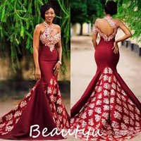 Wholesale Chic D Floral Appliques Beaded Burgundy Evening Dresses Wear Long Ruched Mermaid Backless Satin Women Party Prom Formal Gowns
