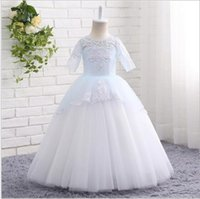 Wholesale Little Girl Princess Ball Gowns - 2017 NEW Baby Princess Flower Girl Dress Lace Appliques Wedding Prom Ball Gowns Birthday Communion Toddler Kids TuTu Dress Little Girl Dress
