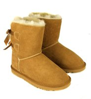 Wholesale Black Wide Calf Leather Boots - 2016 Christmas Promotion Womens BAILEY BOW Boots Belt bow snow boots leather Snow Boots for Women
