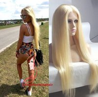Wholesale High Quality Blonde Wigs - Brazilian High Quality 613 Blonde Full Lace Wig Glueless Lace Front Wig natural silky straight Human Hair Wigs With free parting Freeship