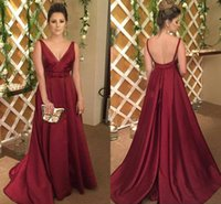 Wholesale Taffeta Plus Size Evening Dresses - Modern Plus Size Burgundy Evening Dresses A-Line V-Neck Backless Elegant Celebrity Party Dresses Evening Wear Sexy Prom Gowns Custom Made
