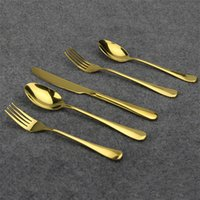 Wholesale Restaurant Roses - 5 Piece Gold Flatware Set Luxury Rose Gold Cutlery Set Stainless Steel Dinner Spoon Knife Fork Tableware for Home Kitchen Restaurant