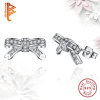Wholesale Wholesale Sparkle Jewelry - BELAWANG Women 925 Sterling Silver Cute Bow Knot Stud Earrings Sparkling Clear Cubic Zirconia Earring Classic Jewelry Wholesale 5 Pairs