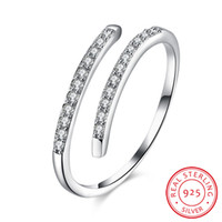 Wholesale simple rings for girls - 2017 New Fashion Popular Adjustable Simple Geometric 925 Sterling Silver Open Ring For Women 3A CZ Wedding Jewelry Girl Jewelry Lover' Ring