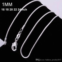 1MM 925 catene di serpente a forma di argento sterlina delle donne Collane catena del serpente dei monili 16 18 20 22 24 26 28 30 inch Commercio all'ingrosso