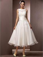 zierliches weißes hemd großhandel-A-Linie Petite / Übergrößen Brautkleid - Empfang Little White Dresses / Brautkleider mit Wrap Tee-Länge Jewel
